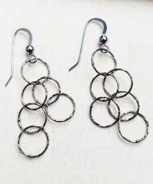 Oxidized Silver Spheres Earrings