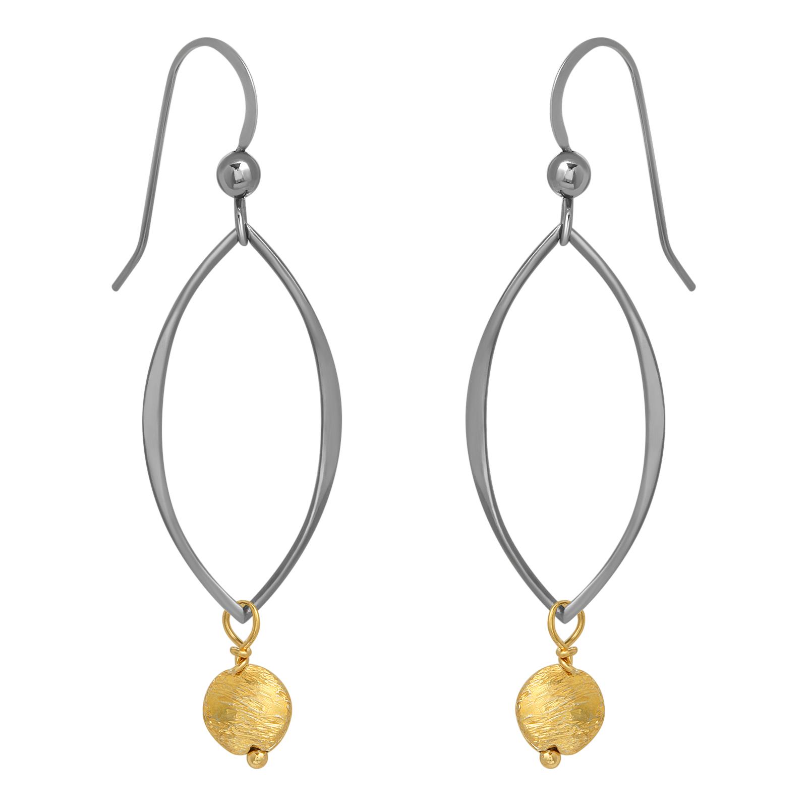 Two-Tone Oxidized Petal Hoop w/ Gold Drop Earrings