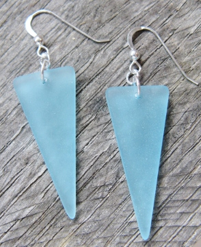 Eco Sea Glass Sheild Earrings - Turquoise