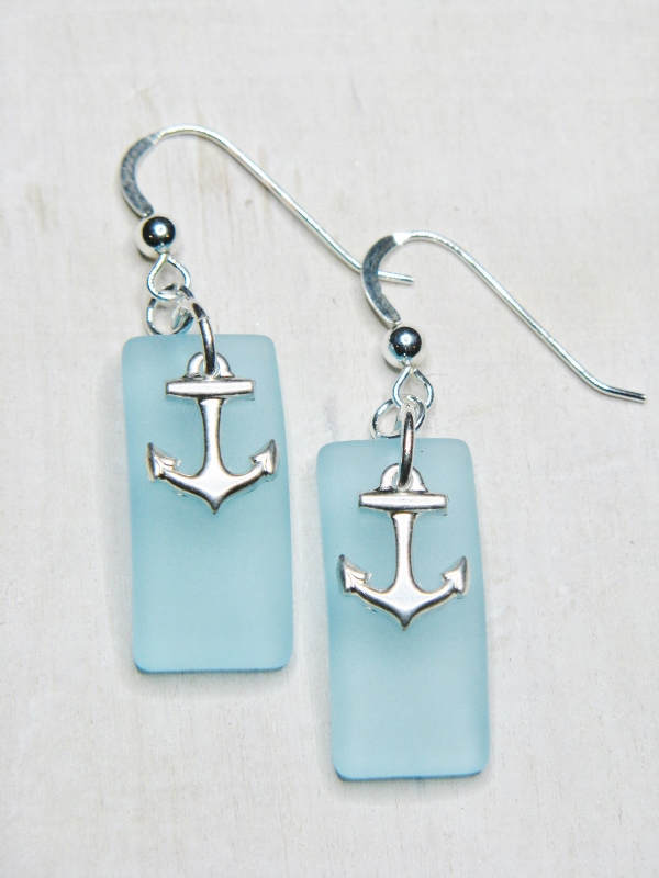 Eco Seas Glass Rec Curved Anchor Earrings - Turquoise