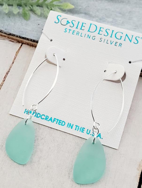 Eco Sea Glass Marquis Pebble Earrings - Autumn Green