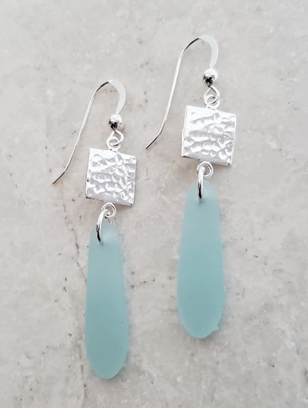 Eco Sea Glass Hammered Tile Earrings - Sea Foam