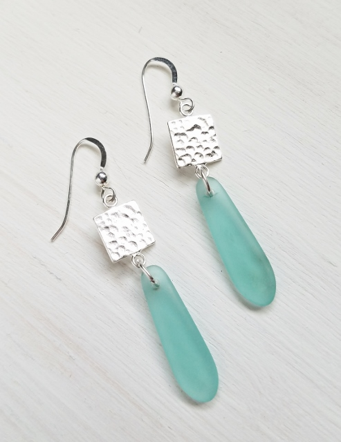 Eco Sea Glass Hammered Tile Earrings - Autumn Green
