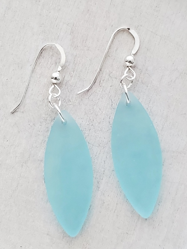 Silver Marquis Eco Sea Glass Earrings - Turquoise