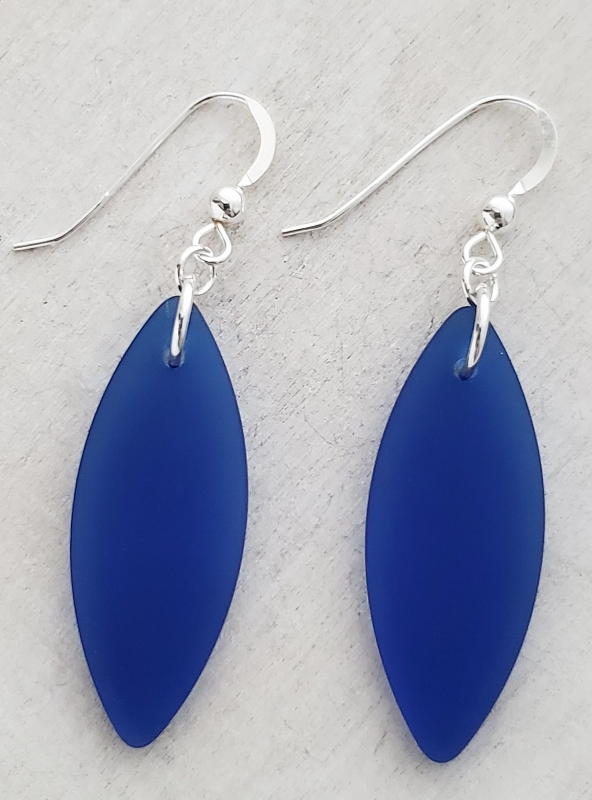 Silver Marquis Eco Sea Glass Earrings - Cobalt Blue