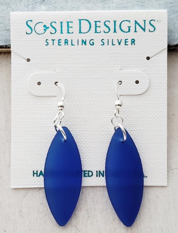 Silver Marquis Eco Sea Glass Earrings - Cobalt Blue