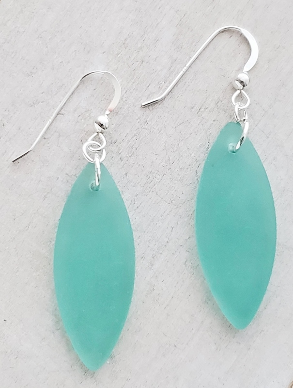 Silver Marquis Eco Sea Glass Earrings - Autumn Green
