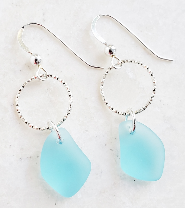 Silver Diamond Cut Sea Glass Pebble Earrings - Turquoise