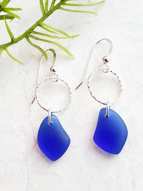 Silver Diamond Cut Eco Sea Glass Pebble Earrings - Cobalt Blue