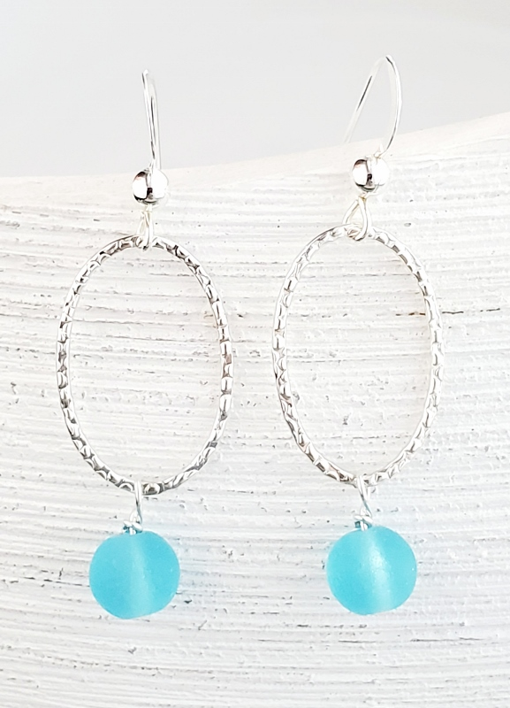 Silver Oval Diamond Cut Teardrop Earrings - Turquoise