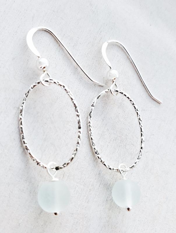 Silver Oval Diamond Cut Teardrop Earrings - Sea Foam
