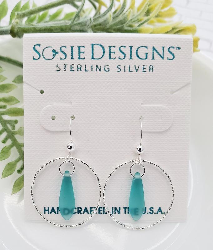 Silver Diamond Cut Eco Sea Glass Dagger Earrings - Autumn Green