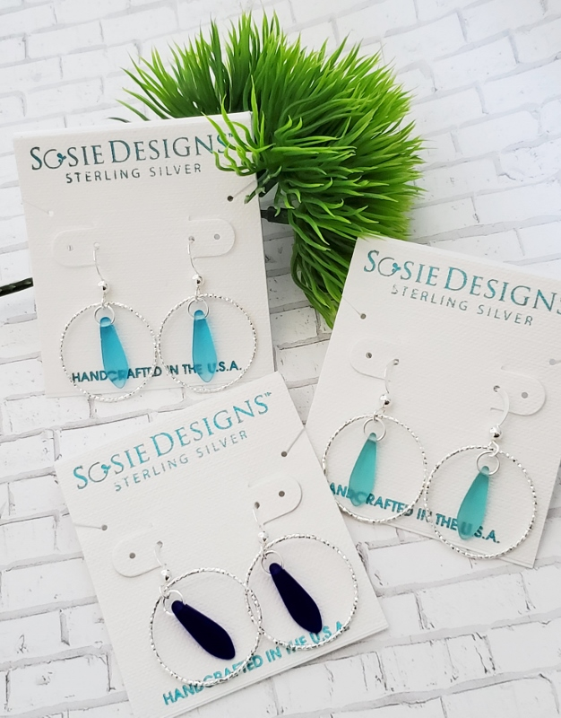 Silver Diamond Cut Eco Sea Glass Dagger Earrings - Cobalt Blue