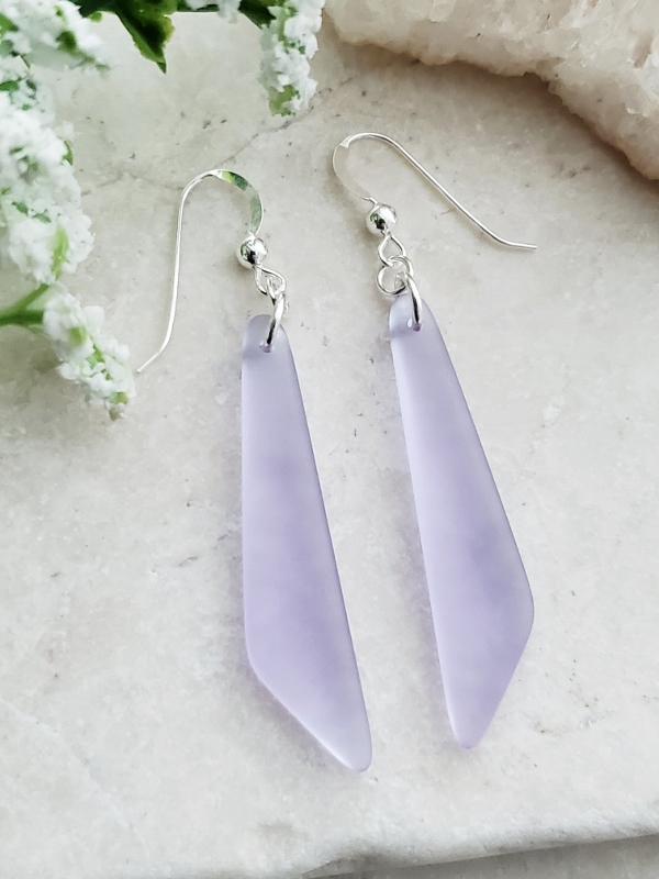Cultured Sea Glass Paddle Earrings - Periwinkle