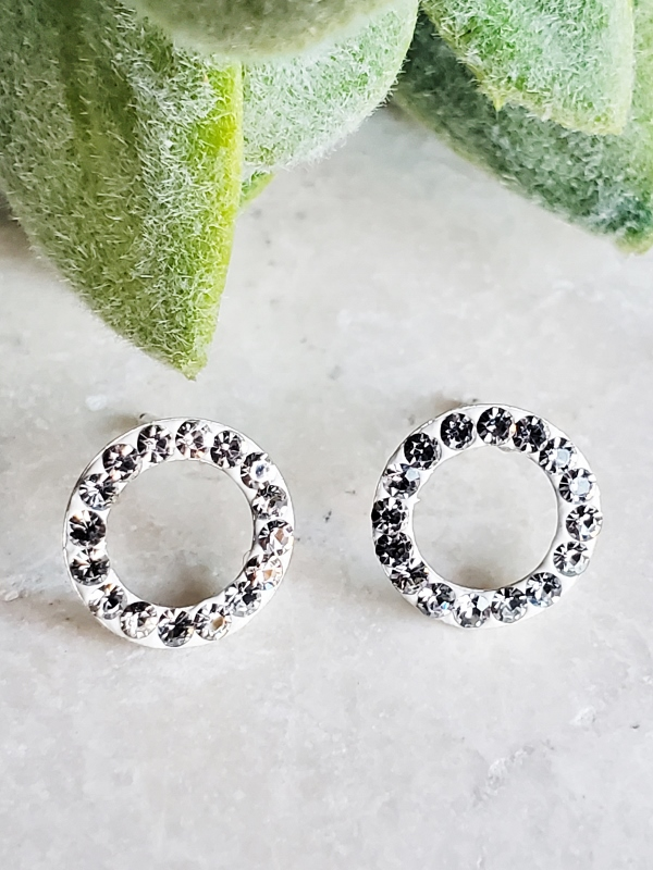 Silver Crystal Circle Studs - Clear