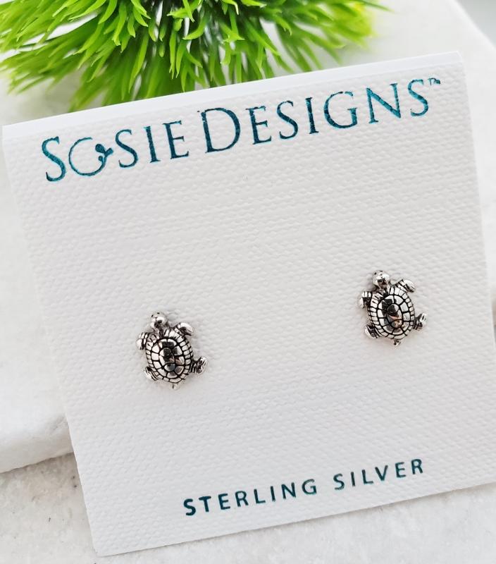 Silver Sea Turtle Studs