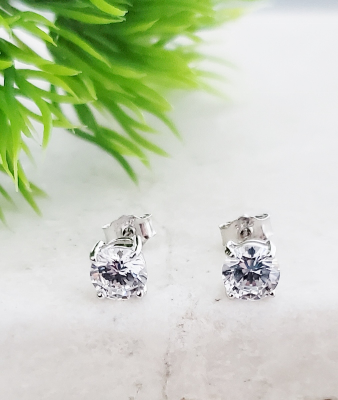 Silver CZ Round Studs Earrings - Clear