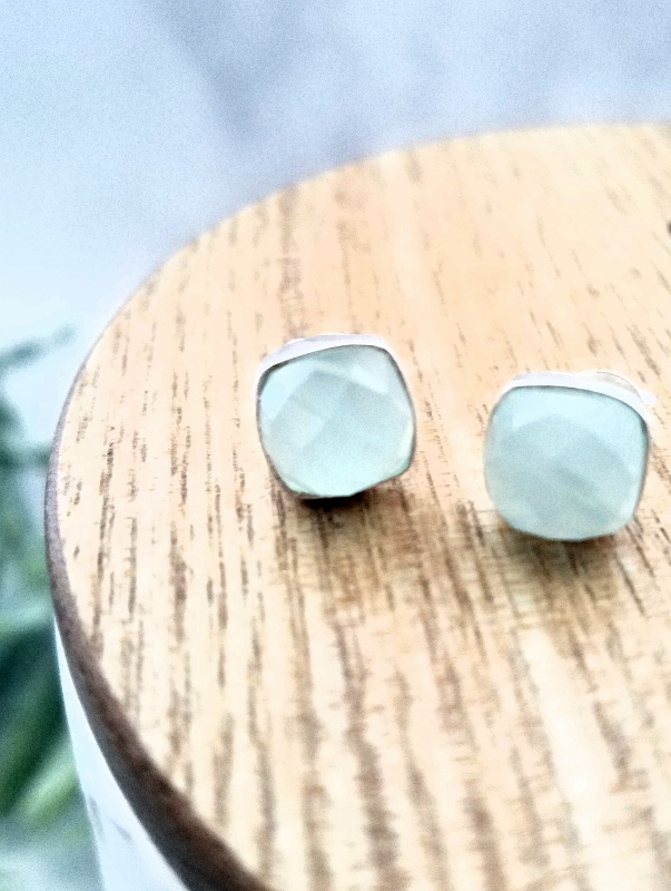 Silver Cushion Aqua Chalcedony Studs Earrings