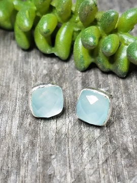 Silver Cushion Stud Earrings - Aqua Chalcedony