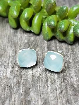 Silver Cushion Stud Earrings - Aqua Chalcedony