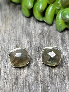 Silver Cushion Stud Earrings - Labradorite