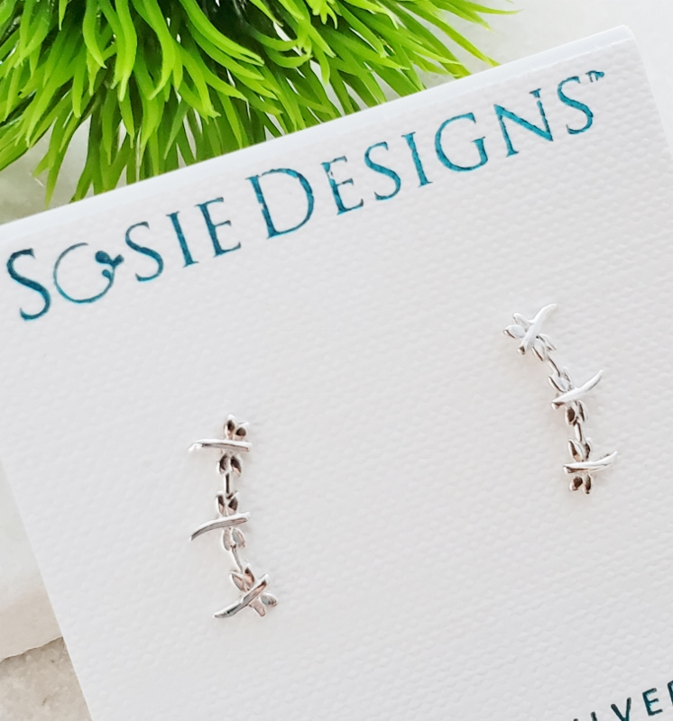 Silver Dragonfly Climber Stud Earrings