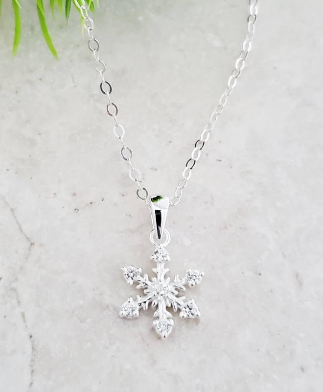 Silver CZ Snowflake Necklace