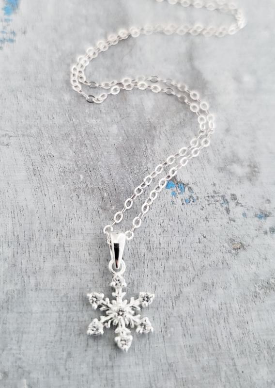 Silver CZ Snowflake Necklace