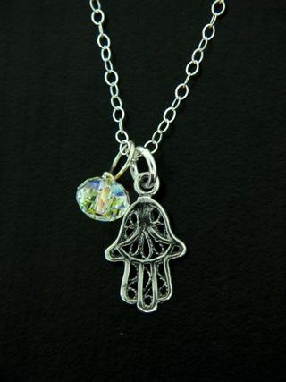 Hamsa Hand Silver Necklace
