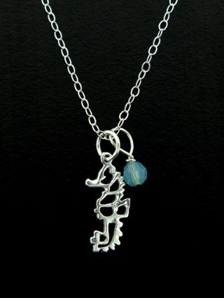 Silver Seahorse Open Work Necklace