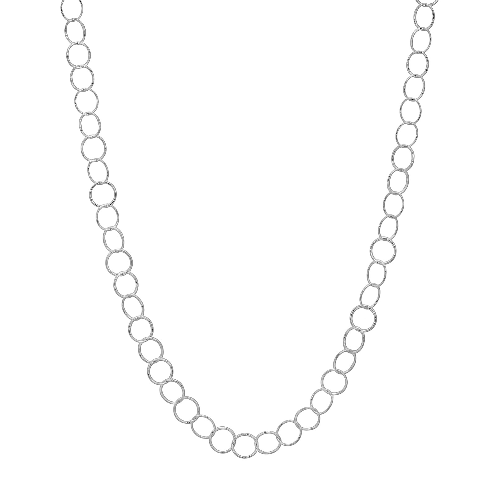 "36"" Sterling Silver Diamond Cut Small Circle Necklace"