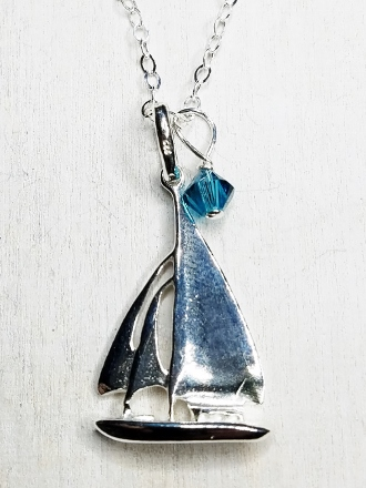 Sail Boat Silver Necklace