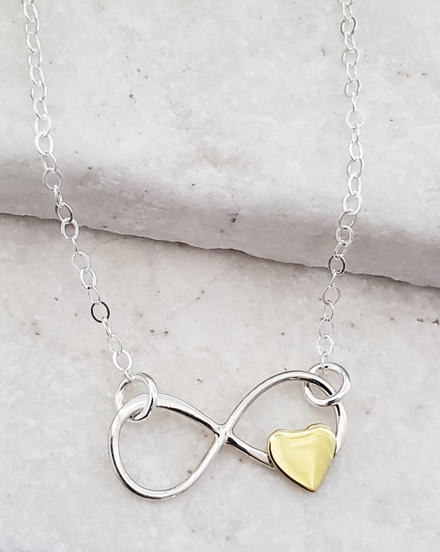 Silver Infinity Heart Sideways Necklace