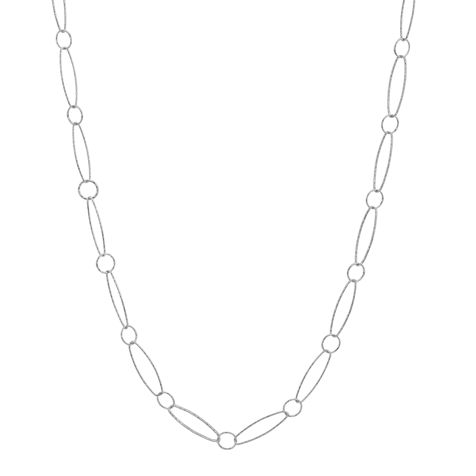 "36"" Sterling Silver Combo Diamond Cut Necklace"