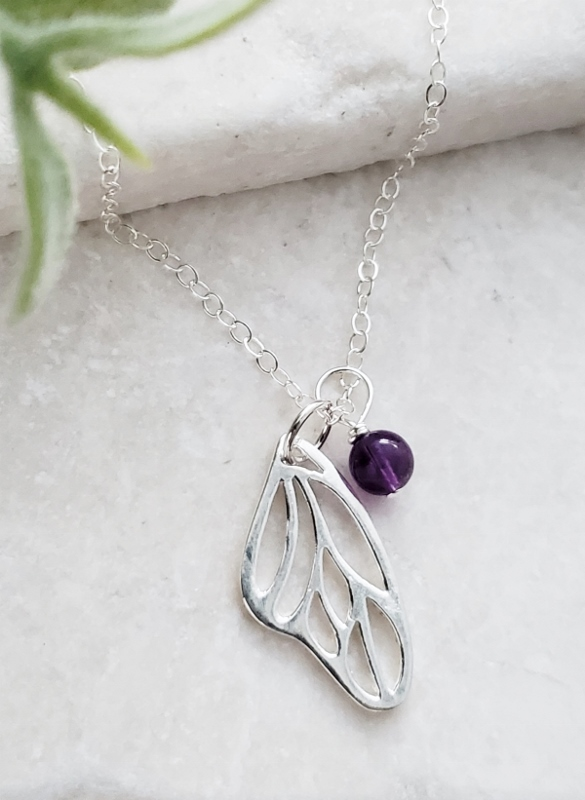 Silver Monarch Butterfly Wing Pendant Necklace