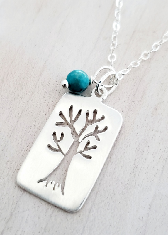 Silver Brushed Tree of Life Necklace
