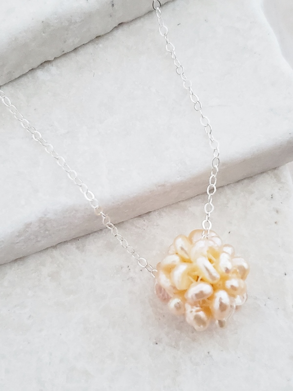 Silver Pearl Cluster Necklace - Pink/Peach