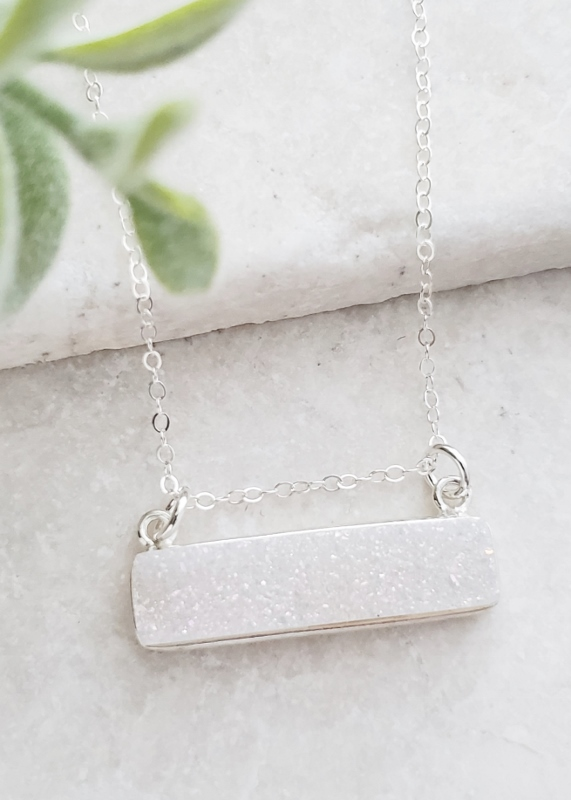 Silver Druzy Bar Sideways - Rainbow White