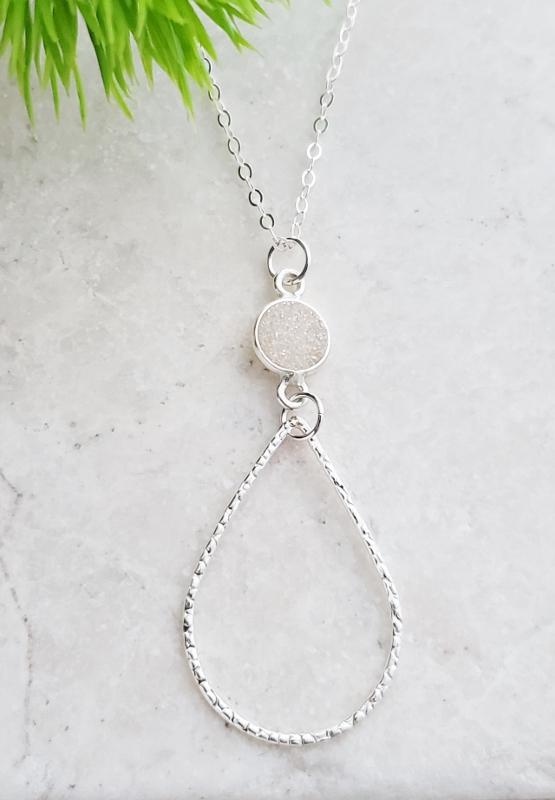 Silver Chandelier Druzy Necklace - Rainbow White