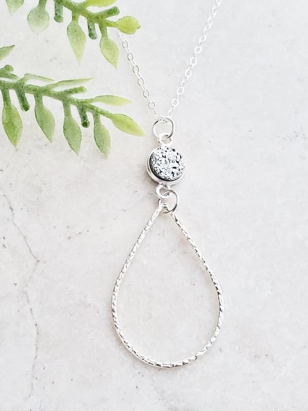 Silver Chandelier Druzy Necklace - Silver
