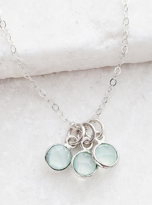 Silver Gemstone Cluster Trio Necklace - Aqua Chalcedony