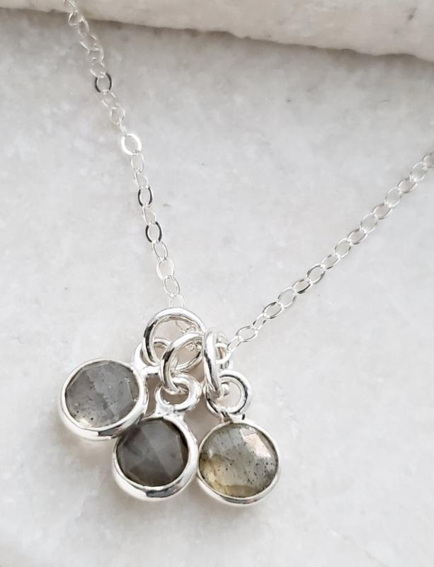 Silver Gemstone Cluster Trio Necklace - Labradorite