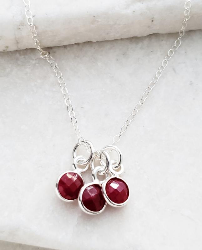 Silver Gemstone Cluster Trio Necklace - Ruby