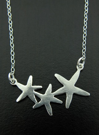 Silver Starfish Cluster Necklace