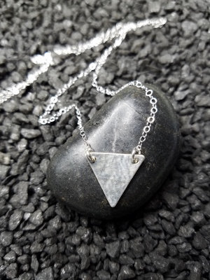 Silver Hammered Triangle Necklace