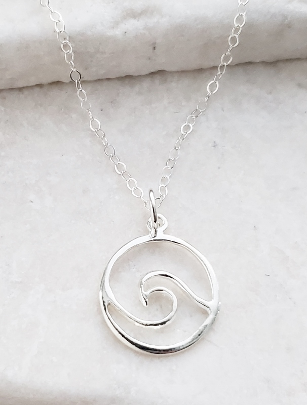 Silver Surfer Wave Necklace