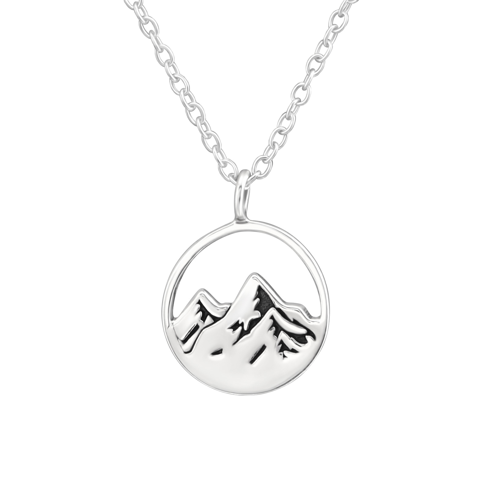 Silver Mountain Etched Necklace