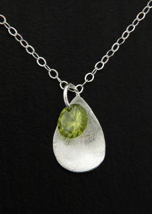 CZ Petal Drops Necklace in Olivine
