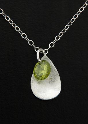 CZ Petal Drops Necklace in Olivine