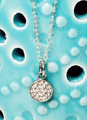 Silver Pave Tiny Disk Necklace